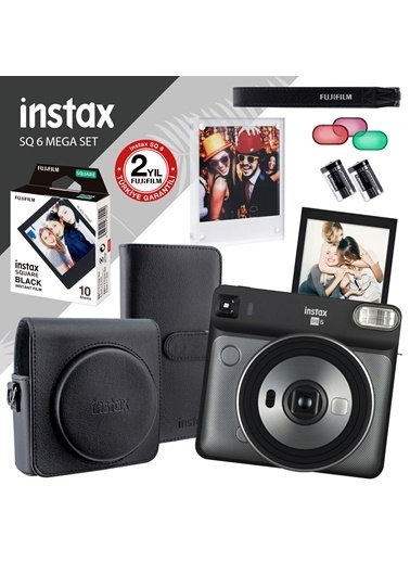Fujifilm İnstax Sq 6 Gri-Siyah Fotoğraf Makinesi Ve Mega Hediye Seti Siyah